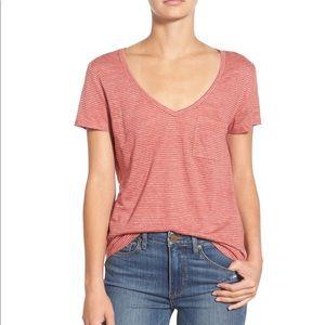 PAIGE 100% Linen Lynnea Red Striped Tee Shirt Top